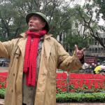 man sings